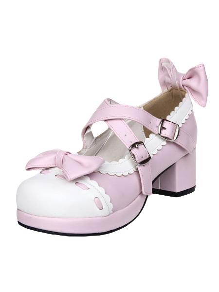 Zapatos Lolita Dulce Tacón Cuadrado Lazos Trim bFtHB
