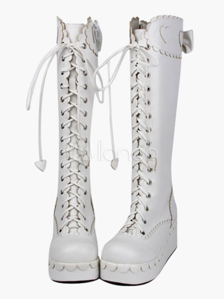 Buy Matte White Lolita Boots Platform Boots Lace Up Bows Zipper Designed for $93.59 in Milanoo store