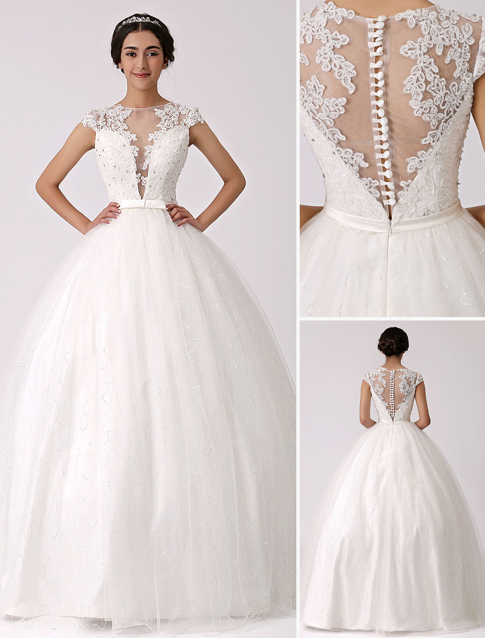 Illusion Plunge Neck Princess Wedding Gown with Sheer Lace Back ...