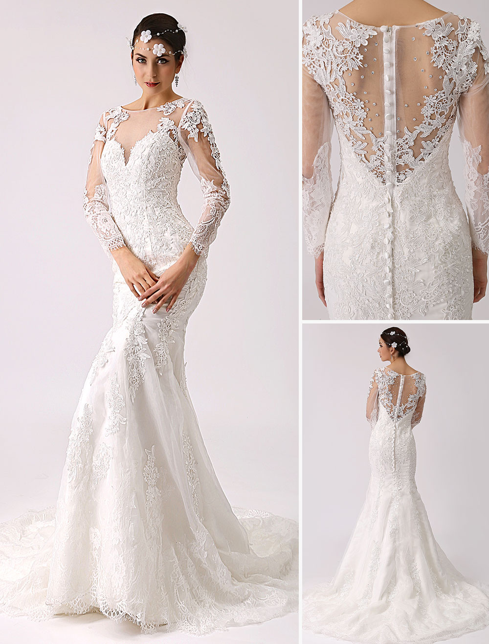 Long Sleeve Illusion Neck Mermaid Wedding Dress Milanoo