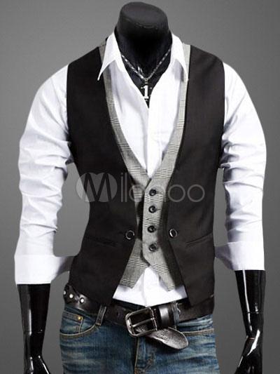 Black Men Waistcoat Color Block Fake 2 Piece Style Button Business Casual 2018 Suit Jacket Cotton