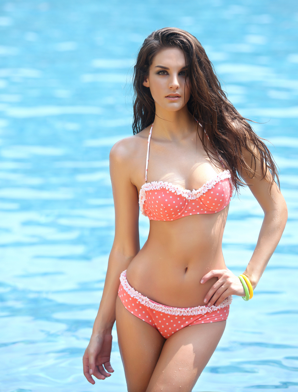 Buy Polka Dot Halter Two-Piece Spandex Polyester Women's Swimsuit for $15.29 in Milanoo store