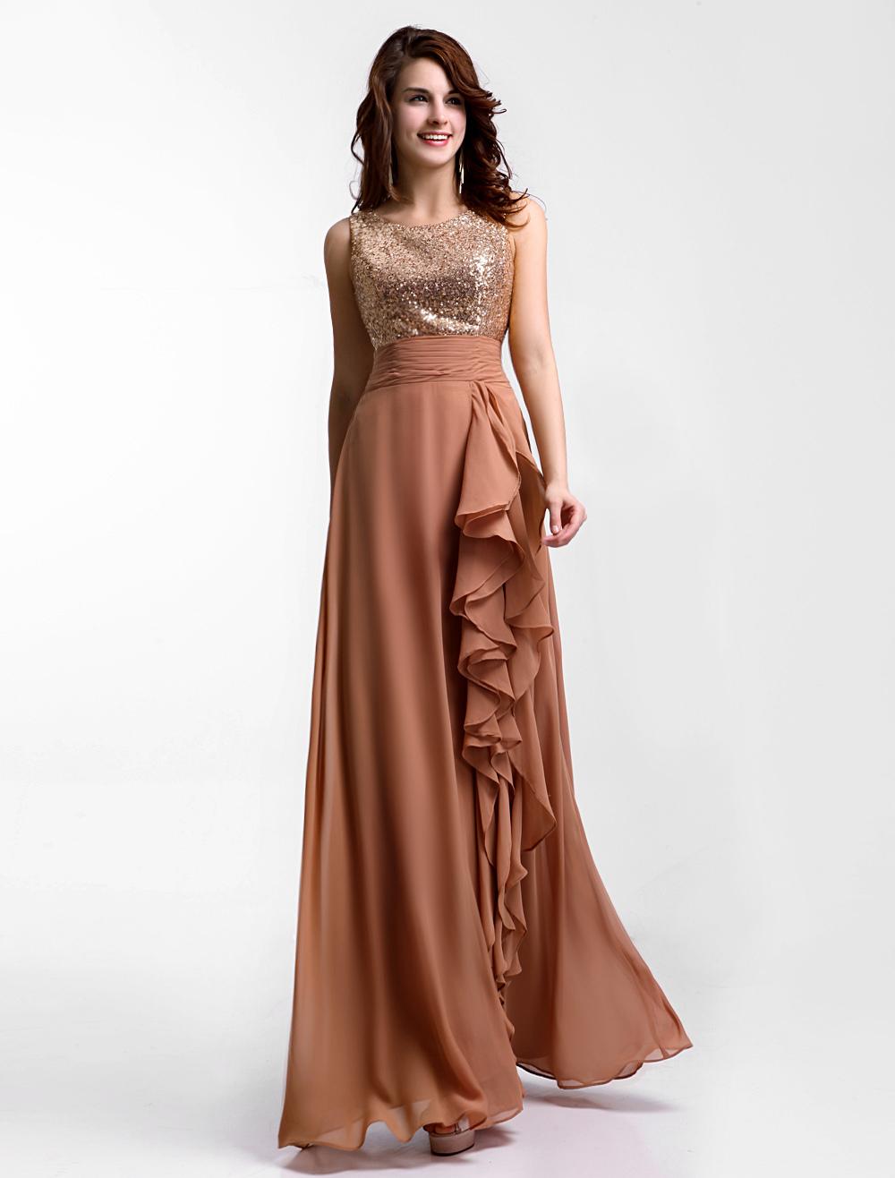 Vestidos para damas de boda de oro