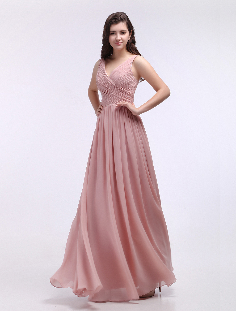 Dusty Pink Bridesmaid Dresses V Neck Ruched Chiffon Nude Grace Bridesmaid Dress