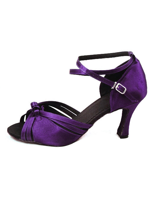 Purple Knotted Cross-Cross Silk and Satin Woman's Latin Dance Shoes
