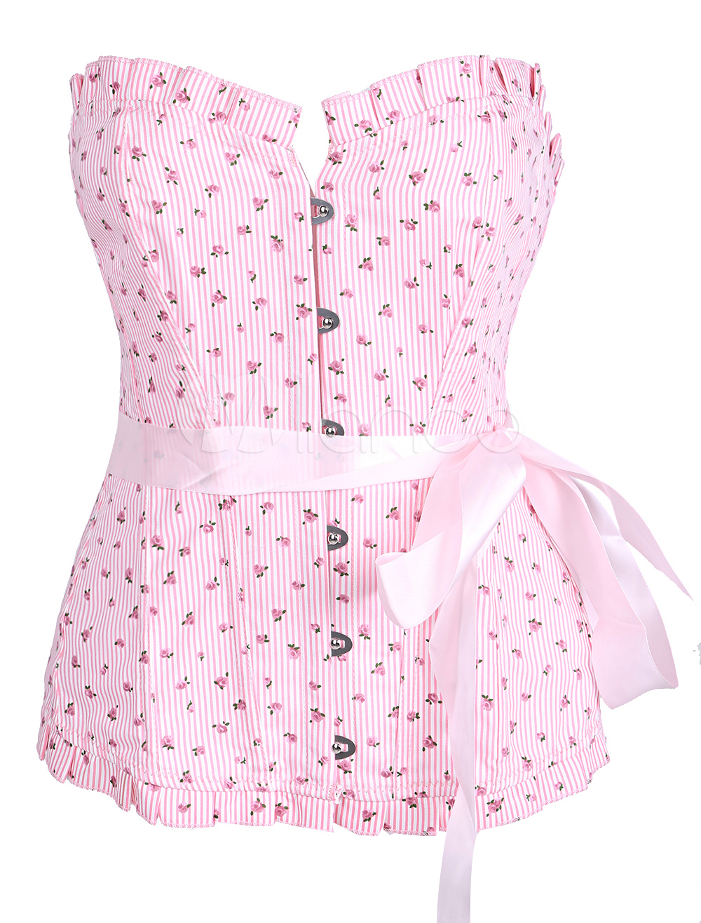Sweet Pink Cotton Lace Up Women's Corsets