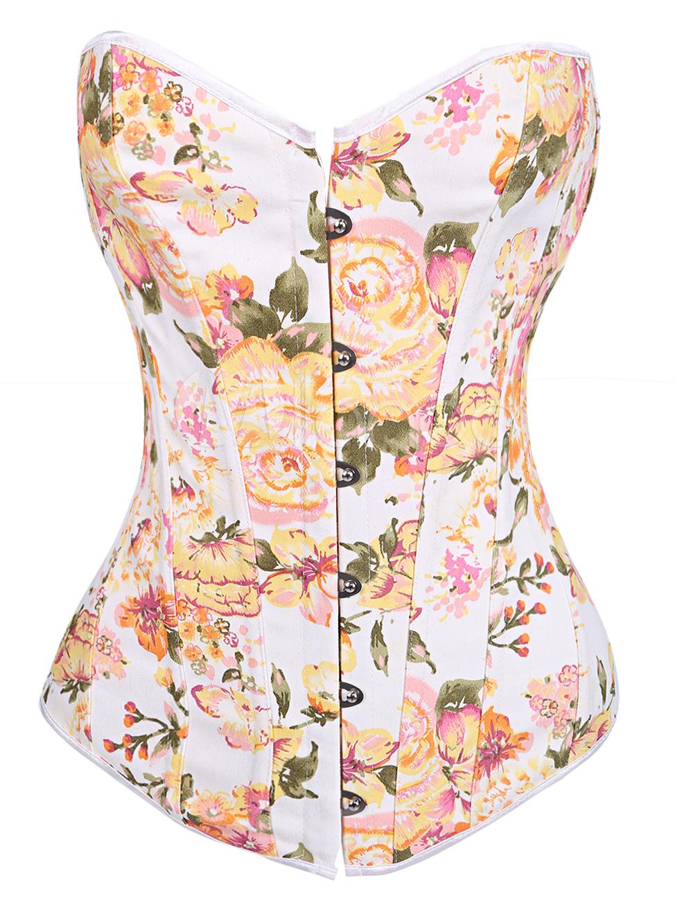 White Floral Print Cotton  Lace Up Corsets