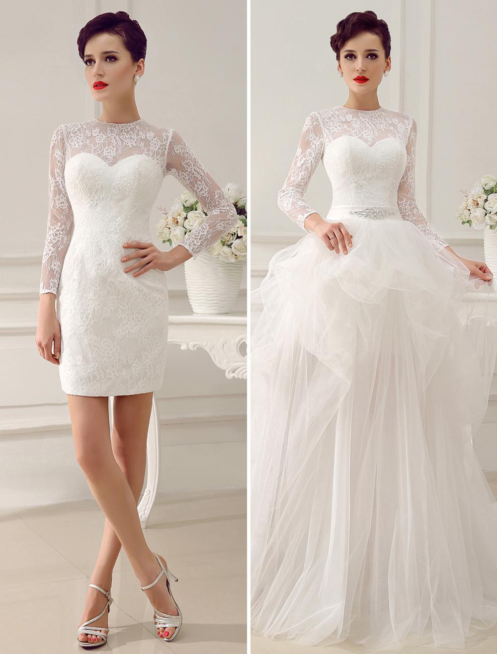 Ivory A-Line Rhinestone Lace Semi-Sheer Wedding Dress  Milanoo