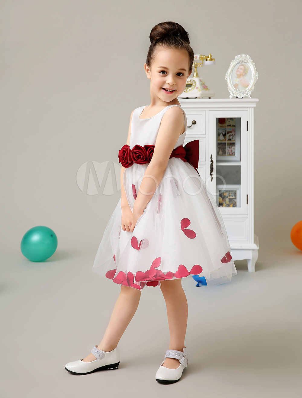 Jewel Neck Flower Polyester Princess Flower Girl Dress
