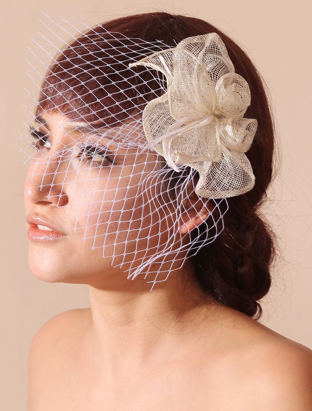 Ivory Flower Wedding Blusher Veil