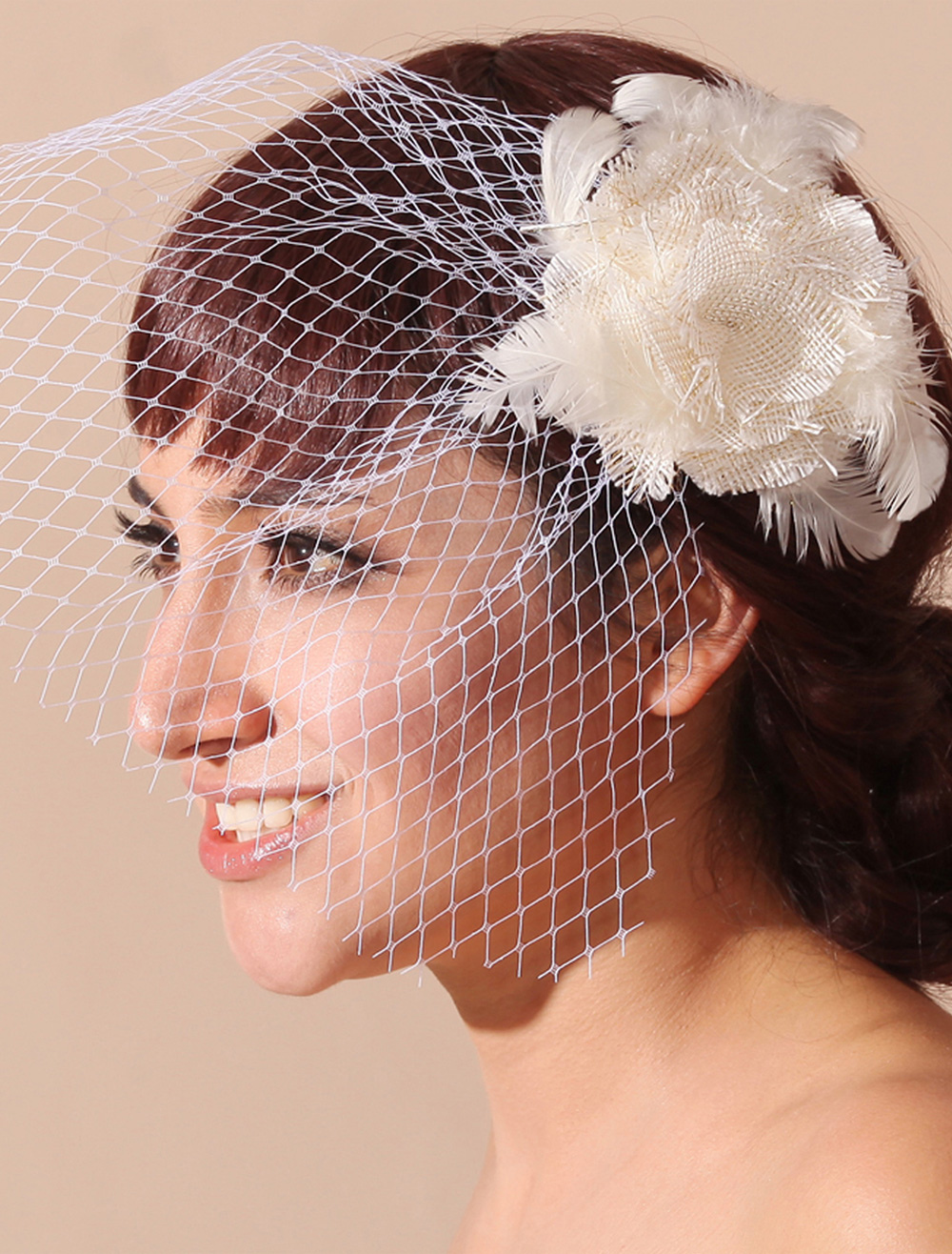 Vintage Style Blusher Veil with Flower and Feather