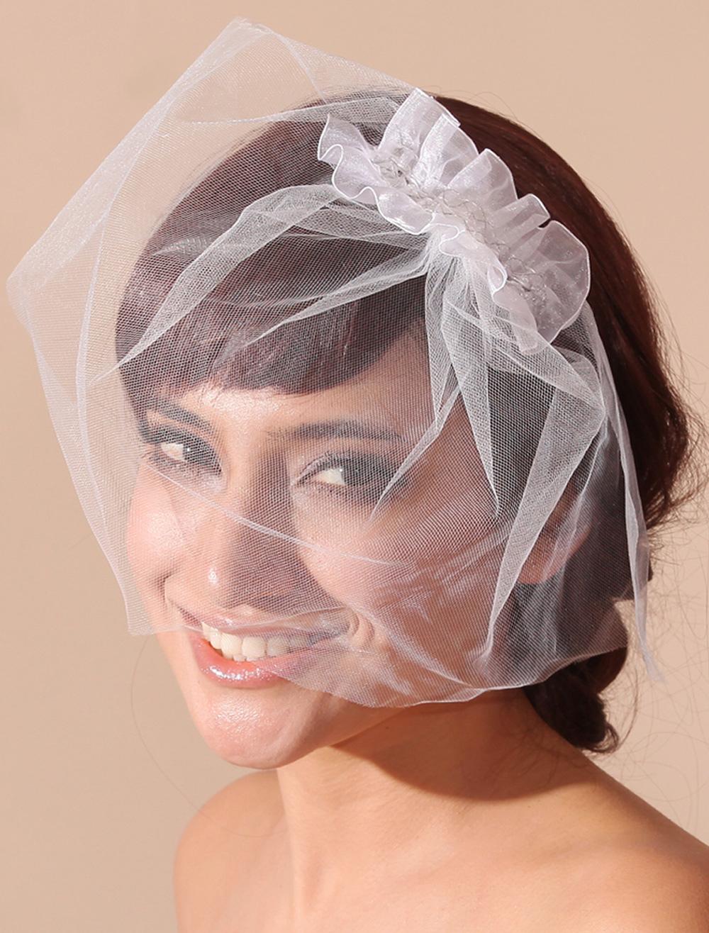 White Bridal Blusher Veil with Ruffles