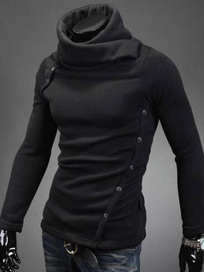 Men's Black Cotton Asymmetrical Hoodie Chic Knitwear