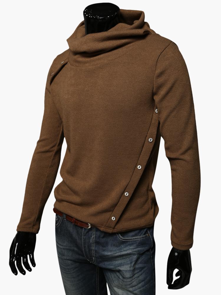 Men S Black Cotton Asymmetrical Hoodie Chic Knitwear