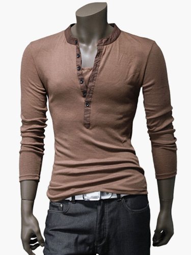 Long sleeve t shirt v neck spring top button up men casual for V neck button up shirt