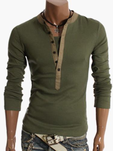 Long Sleeve T Shirt V Neck Spring Top Button Up Men Casual T Shirt