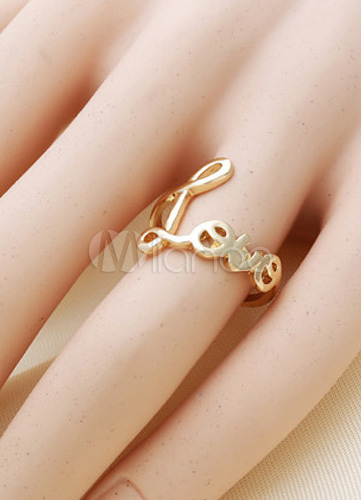 Gorgeous Words Lover Alloy Gold And Silver Plated Joint Rings For