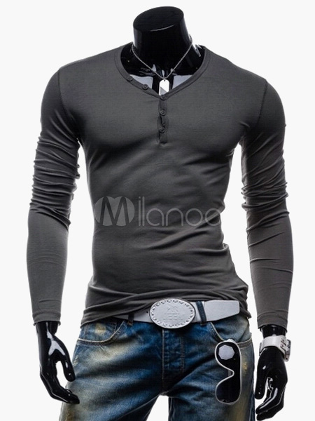 Long Sleeve T Shirt V Neck Button Undershirt Men Casual T Shirt Cotton