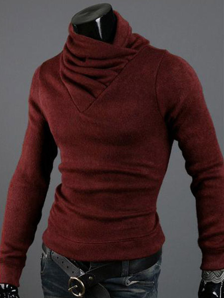 Quality High Collar Solid Color Cotton Pullover Knitwear For Men