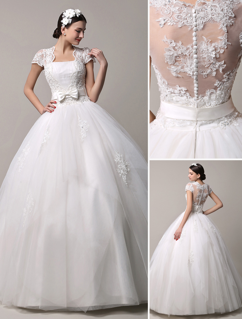 Short Sleeve Lace Princess Wedding Dress with Layered Tulle Skirt ...