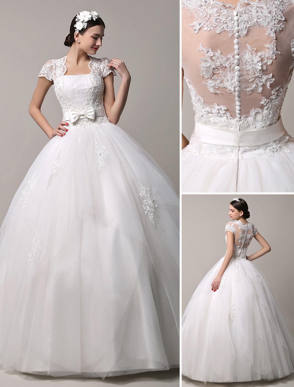 Wedding dress short sleeves lace princess
