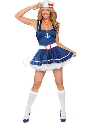 Halloween Blue Lycra Spandex Fashion Womens Sailor Costume-No.1 ...  sc 1 st  Milanoo.com & Halloween Blue Lycra Spandex Fashion Womens Sailor Costume - Milanoo.com
