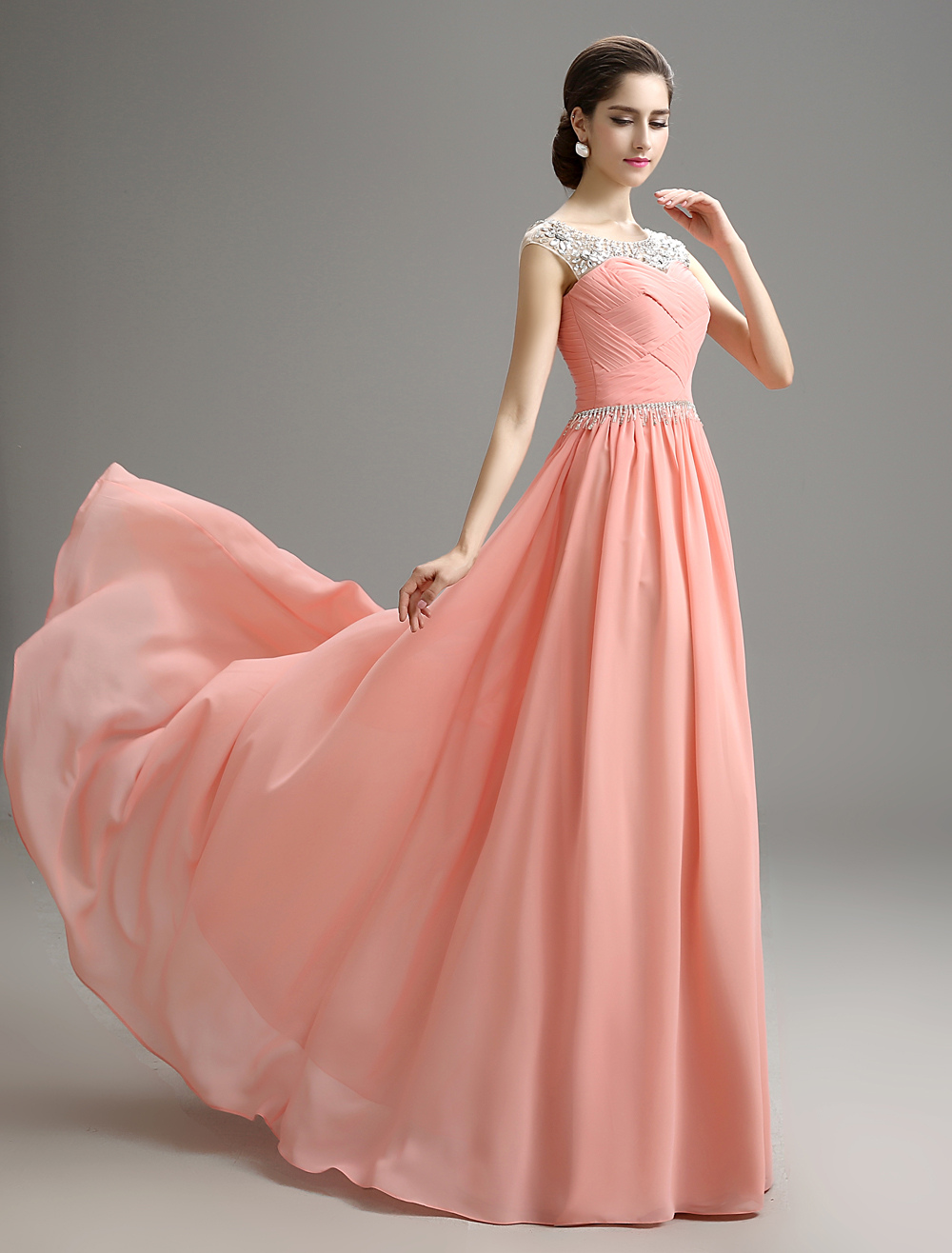 Blush Pink Evening Dress Beaded Chiffon Party Dress A Line Pleated Plus Size Prom Dress With Sweep Train