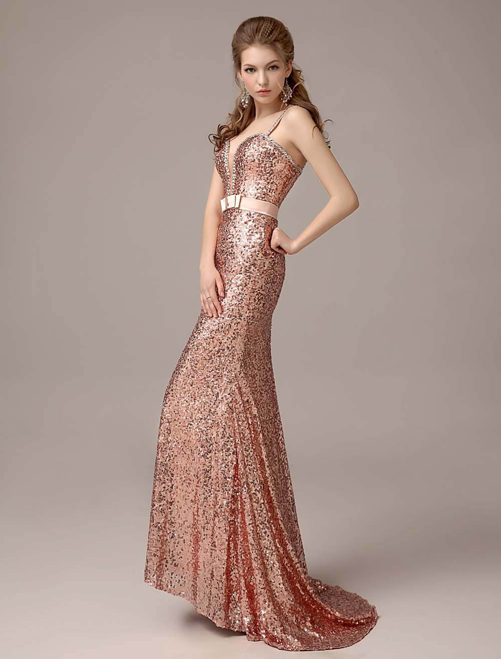 Rose Gold Prom Dresses 2018 Long Nude Mermaid Evening Dress Sequined Straps Party Dress With Train