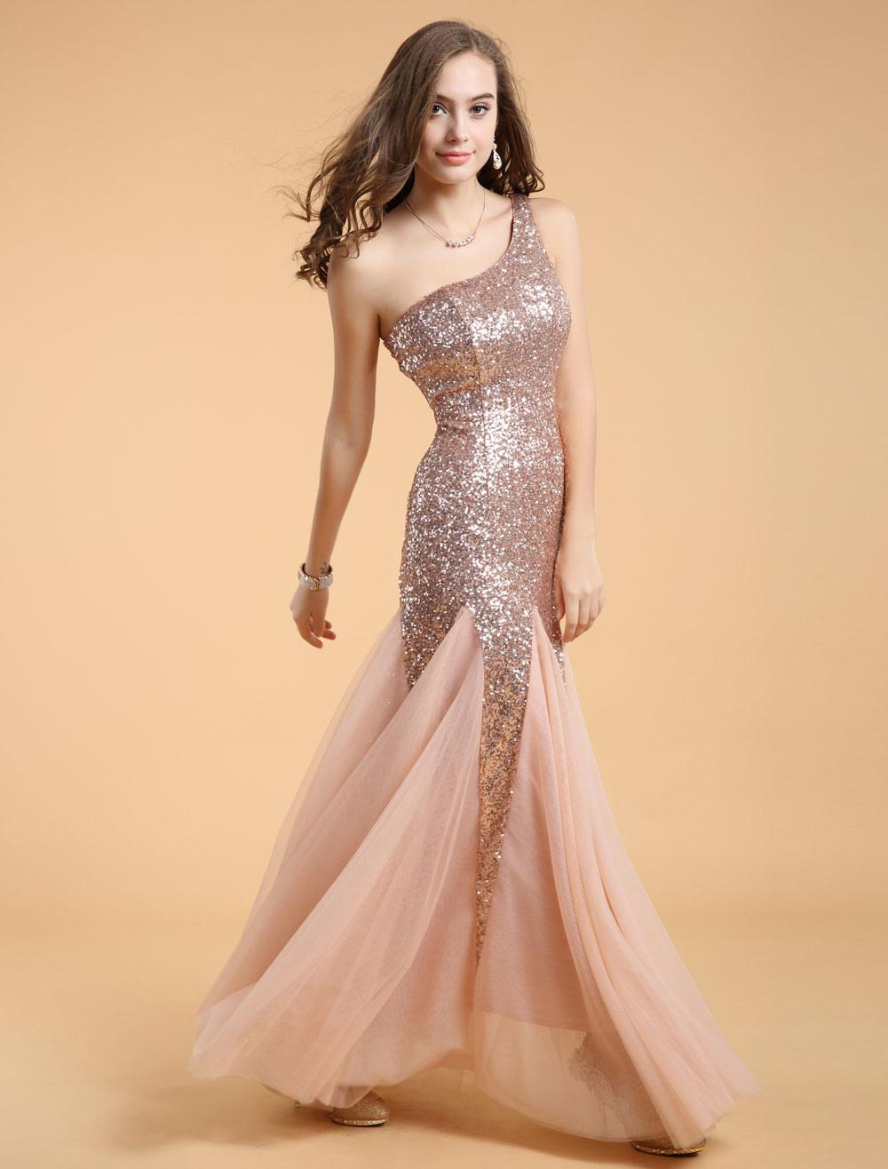 Nude One-Shoulder Sequined Long Dress - Milanoo.com f65451e18