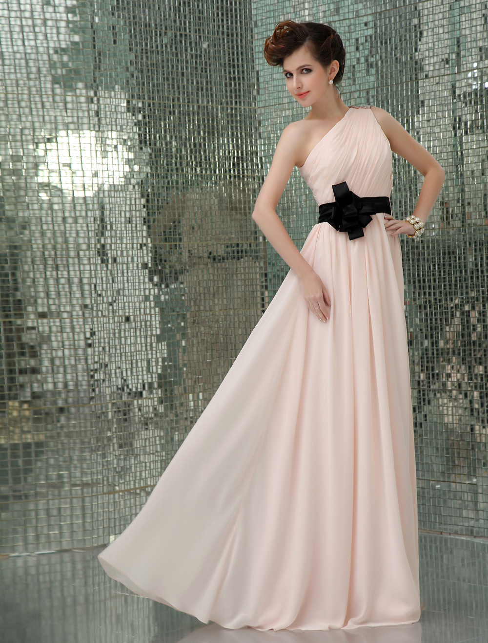 14ed8ad551 One-Shoulder Sash Evening Dress Wedding Guest Dress wedding guest dress