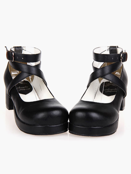 Buy Black Lolita Heels Square Platform Ankle Straps Chunky Heel Lolita Shoes for $53.99 in Milanoo store