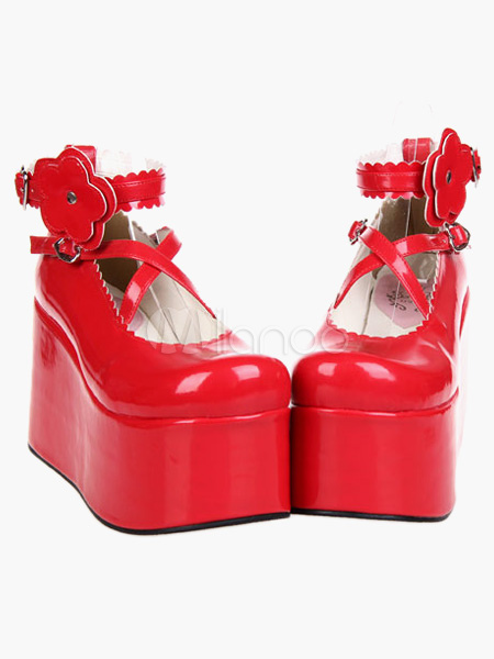 Buy Red Lolita Shoes Platform Red Lolita Flatform Shoes for $59.39 in Milanoo store