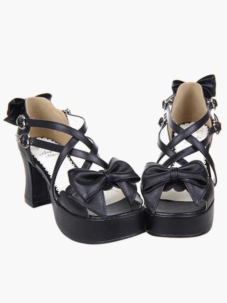 Black Lolita Heels Platform Crossing Straps Bow PU Lolita Shoes