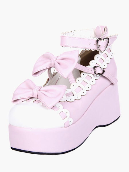Dulce Rosa Blanco Lolita Alta Plataforma Zapatos Tobillo Tirantes Lazos Trim 3.1'' Tacón 1.6'' Plataforma TyVpdnnNDg