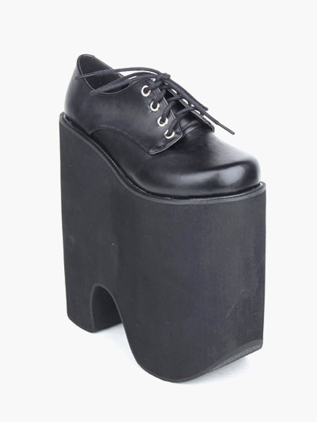 2c32e3f30 ... Готическая Лолита черные туфли на высокой платформе 8.7 дюймовый каблук  с шнуркой-No. ...