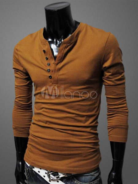 Men T Shirt Round Neck Long Sleeve Cotton T Shirt