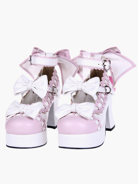 Sweet Lolita Chunky Heels Shoes Platform Ankle Strap Bows Decor