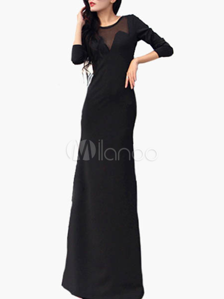 283398926074 Vestito lungo nero chic   moderno monocolore parzialmente trasparente con  scollo rotondo maniche lunghe pizzo in ...