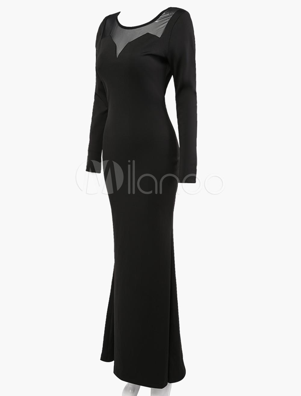 03b85f6a4b38 ... Vestito lungo nero chic   moderno monocolore parzialmente trasparente  con scollo rotondo maniche lunghe pizzo in ...
