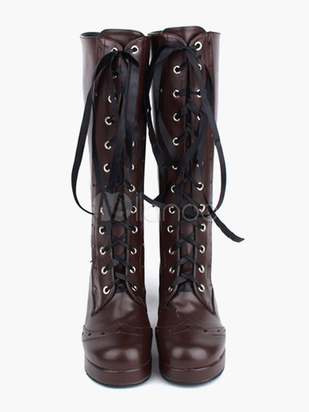 Coffee Brown Lolita Boots Chunky Heels Shoelace Designed