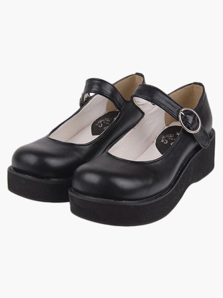 Kawayi Black Lolita Shoes Platform Shoes with Buckles Strap