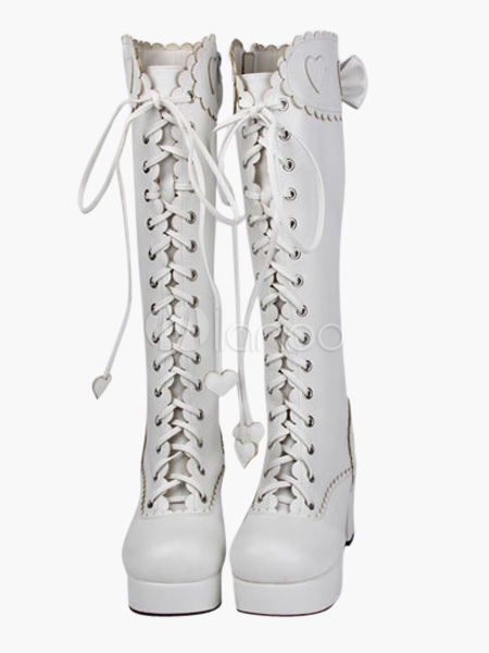 Sweet Matte White Lolita Boots Chunky Heels Platform Shoelace Bows