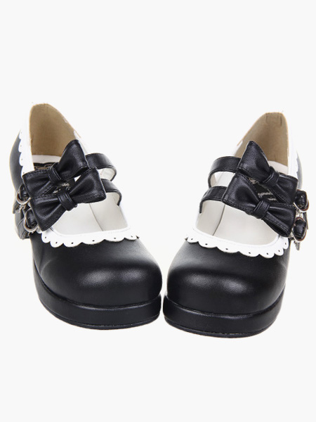 Buy Sweet Lolita Chunky Square Heels Shoes Bows Trim Round Toe for $52.24 in Milanoo store