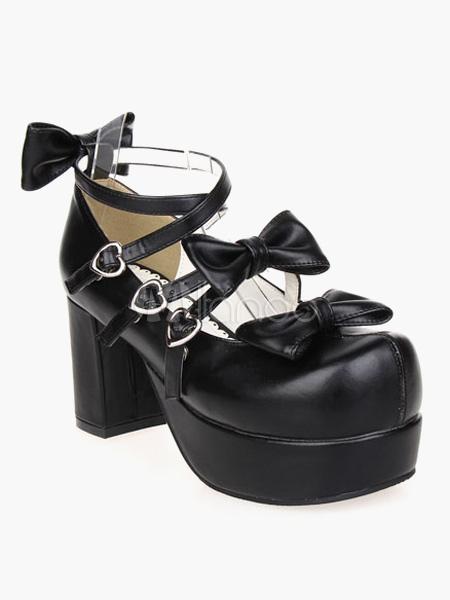 Zapatos cruzados de lolita de charol negro con lazo l4uMOtiUf