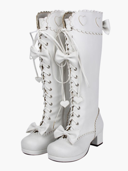 Sweet Matte White Lolita Boots Chunky Square Heels Bows Decor Shoelace