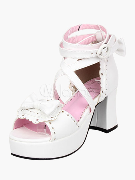 White Chunky Heel PU Platform Bow Ankle Strap Lolita Sandals