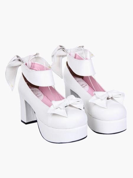 Zapatos de Rosa Rojo Lolita Tacones Gruesos Zapatos Tirantes de tobillo Hebillas Lazo PqAsUm60V3