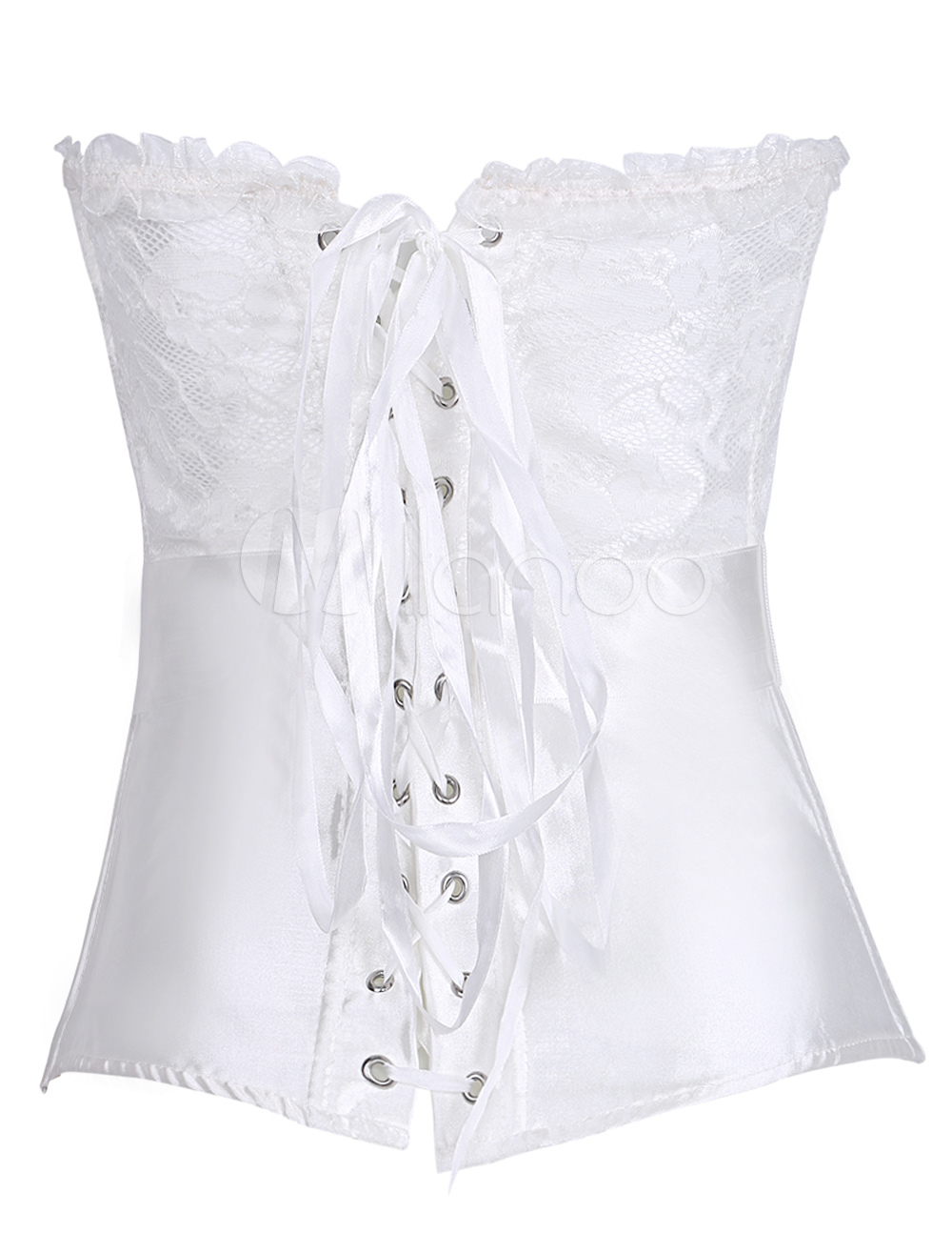 a8ca28f1266 Wedding Corset Top White Lace Bow Overbust Bridal Corsets Waist Trainer  Sexy Lingerie-No.
