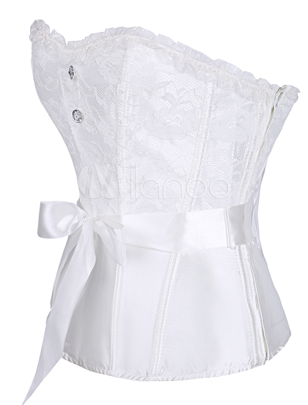 a5e6d8d75 Wedding Corset Top White Lace Bow Overbust Bridal Corsets Waist Trainer  Sexy Lingerie-No.