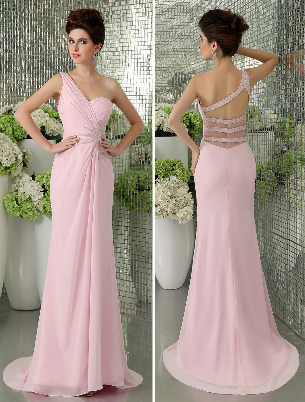 Sheath Pink Chiffon Beading One-Shoulder Sweep Women's Prom Dress  Milanoo